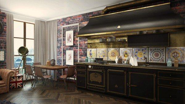 Ремонт кухні 9 м. кв метрів: поєднання англійської та індустріального стилів