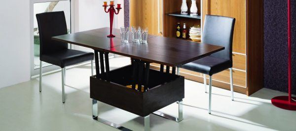 Обідній стіл-трансформер: конструкція, переваги, різновиди