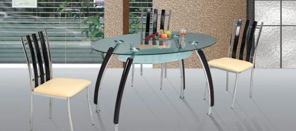 Стіл овальний скляний: оригінальний атрибут кухонний